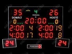 Světelné časomíry - tabule SPORT VARIO K8 basketbal, florbal, házená, futsal, volejbal