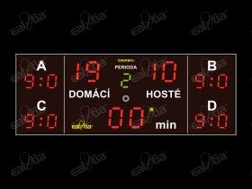 DERBY® Cinque 19P/Q4 - fotbal, světelná tabule/časomíra, 5x skóre, 250x100cm