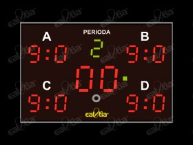 DERBY® Quattro 9P/Q4 - fotbal, světelná tabule / časomíra, 5x skóre, 150x100cm
