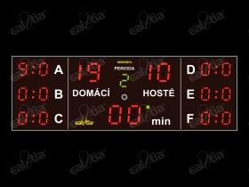DERBY® Sette 19P/Q4 - fotbal, světelná tabule/časomíra, 7x skóre, 300x100cm